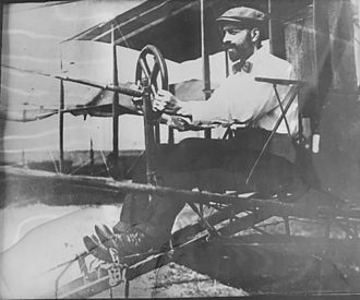 Augustus Post - Augustus Post flying one of the first Curtis biplanes in 1910.