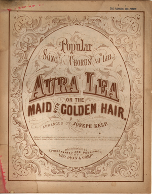 Aura Lea - Cover of Confederate version (1864)