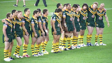 The Australian Kangaroos line up to face the New Zealand haka at the 2008 Rugby League World Cup Australia national rugby league team (26 October 2008).jpg