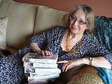 Author Val Wood with a selection of her best-selling novels (2013).JPG