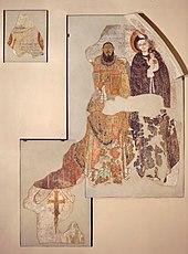 Autor nieznany, Biskup Marianos pod opieką Chrystusa i Matki Boskiej.  Malowidło ścienne.jpg