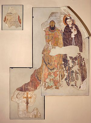 Coptic Diocese of Faras - Bishop Marianos of Pakhoras supported by Madonna and Child, as depicted in the wall painting from the Faras Cathedral (National Museum in Warsaw).