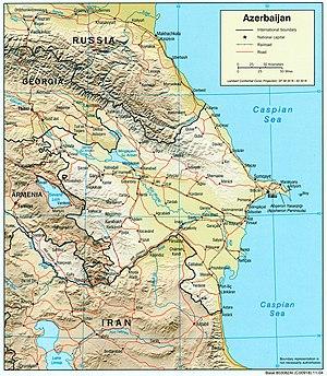 Transport in Azerbaijan - Azerbaijan geopolitical map with rail and road network