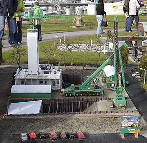 Royal BAM Group - Construction equipment from Koninklijke BAM Groep in Madurodam in typical green-orange livery