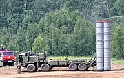 The self-propelled launch vehicle 5P90S on a BAZ-6909-022 chassis for the S-400 system.