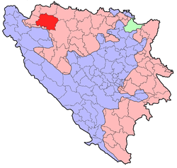Location of Prijedor within Bosnia and Herzegovina