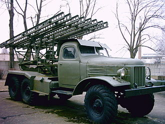 Katyusha rocket launcher - Postwar Katyusha on a ZiL-157 truck