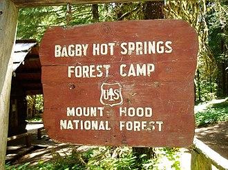 Bagby Hot Springs - Image: Bagby Hot Springs Sign