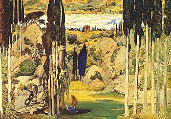 Evocación sinfónica de la Grecia antigua, Daphnis et Chloé es la obra más monumental de Ravel. Decoración concebida por Léon Bakst para el estreno en 1912.