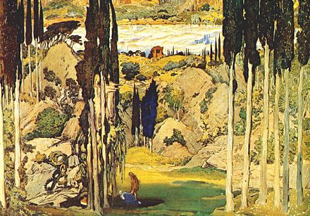 Original setting for Daphnis et Chloe by Leon Bakst (1912) Bakst Daphnis et Chloe Set Act II 1912.jpg