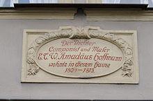 Bamberger Gedenktafel am E.T.A. Hoffmann-Haus, Schillerplatz 26 (Quelle: Wikimedia)