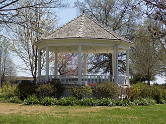 Haskell Indian Nations University - The small bandstand gazebo located on the Haskell Indian Nations University (2018). It was constructed in 1908 and is on the National Register of Historic Places.