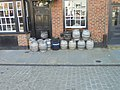 Barrels in front of Blind Jacks, Market Place, Knaresborough (24th August 2019).jpg