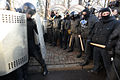 Barricade line separating interior troops and protesters. Clashes in Kyiv, Ukraine. Events of February 18, 2014.jpg