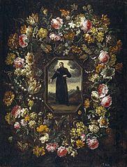 Garland of Flowers with Saint Camillus de Lellis