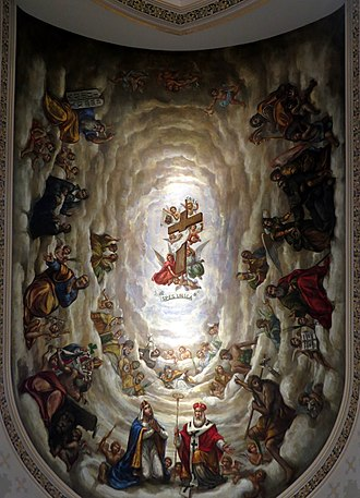 Luigi Gregori - Image: Basilica of the Sacred Heart (Notre Dame, Indiana) interior, The Lady Chapel, mural, The Exaltation of the Holy Cross by Luigi Gregori, looking straight up
