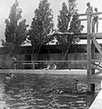 Bathing, beach, pool, springboard, changing cabin, water surface, summer, free time Fortepan 11953.jpg