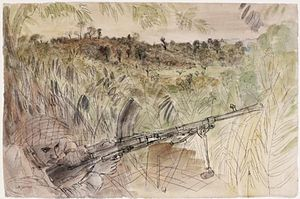 Anthony Gross - Battle of Arakan, 1943- Overlooking Japanese Positions at Rathedaung (1943)