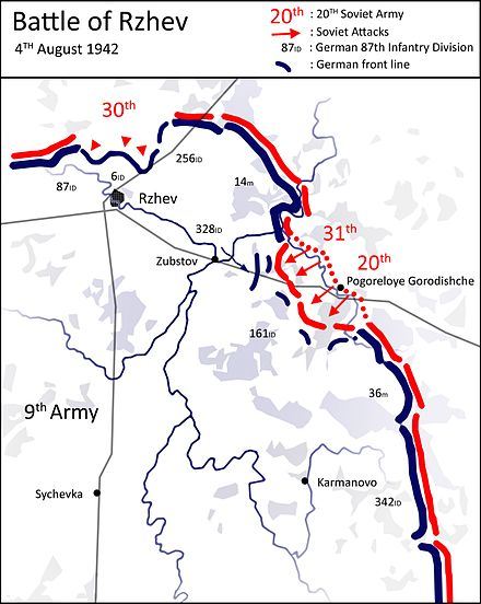 Attack of Western Front, 4 August 1942 Battle of Rzhev - Situation Map - 4 August 1942 - Western Front Attacks.jpg