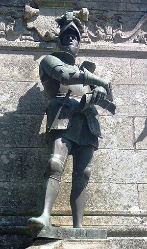 Pierre Terrail, seigneur de Bayard - Statue of Pierre Terrail LeVieux, Seigneur de Bayard, in Sainte-Anne-d'Auray, France. 1893 statue.