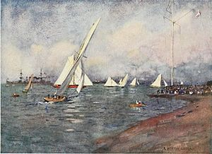 "Cowes - Caption: Where the Royal Yacht Squadron have their headquarters, and where the famous ""Cowes Week"" takes place in August. - From the Beautiful Britain series, The Isle of Wight, by G. E. Mitton."