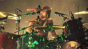 English: Ben Johnston drumming for Biffy Clyro...