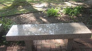 "Earl Long - Bench at Earl Long grave inscribed, but blocked from view by the glare, with words of the C. Austin Miles hymn ""In the Garden"" (1912)"