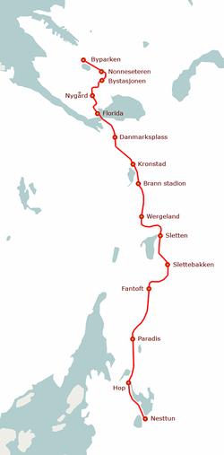 List Of Bergen Light Rail Stations Wikipedia - Norway map railway