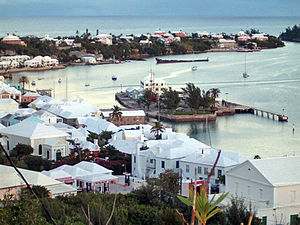 Saint George's town, in the Islands of Bermuda, or The Somers Isles, was founded by the Virginia Company in 1612, following the wrecking of the Company's flagship, the Sea Venture, in Bermuda in 1609 during the Third Supply to Jamestown. A second company, the Somers Isles Company, was formed by the same shareholders, and managed Bermuda independently from 1615 until 1684.