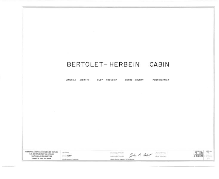 File:Bertolet-Herbein Cabin, Oley Line (Oley Township), Oley Line, Berks County, PA HABS PA,6-LIMKI.V,5- (sheet 0 of 2).png
