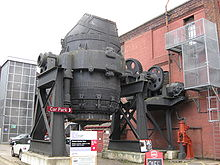 The Bessemer Converter located at Kelham Island Museum. The converter is located within an old industrial facility typical of those constructed during the Industrial Revolution.