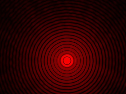 Airy diffraction pattern 65 mm from a 0.09 mm circular aperture illuminated by red laser light. Image size: 17.3 mm x 13 mm. Beugungsscheibchen.k.720.jpg
