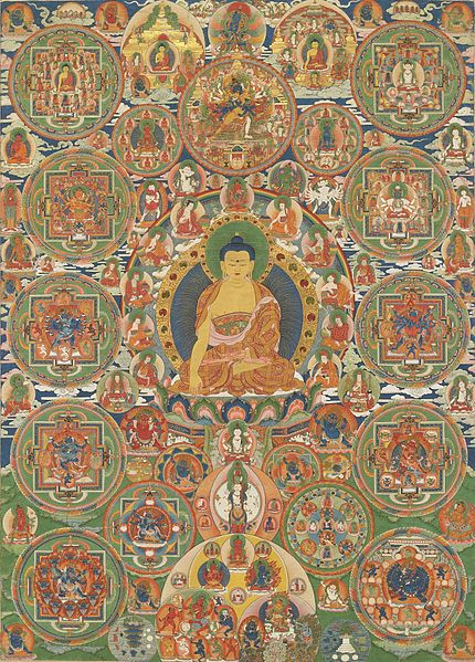 Archivo:Bhutanese painted complete mandala, 19th century, Seula Gonpa, Punakha, Bhutan.jpg