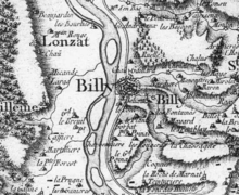 Billy sur la carte de Cassini