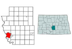 Location of Bismarck in Burleigh County, North Dakota
