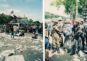 Black May (1992) - Protesters and military, Black May 1992.