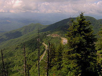 Southern Appalachian spruce–fir forest - The Blue Ridge Parkway viewed from the summit of Waterrock Knob.