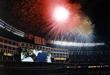 Fireworks at the Skydome following the Blue Jays' victory in the 1993 World Series. Blue Jays Win the 1993 World Series.jpg