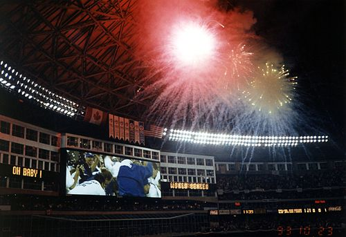 Fireworks in the SkyDome after Joe Carter's World Series-winning home run, as the Canadian Toronto Blue Jays won their second straight World Series title in 1993 against the US' Philadelphia Phillies. Blue Jays Win the 1993 World Series.jpg