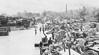 20th Marine Regiment (United States) - Shore Party Blue beach 1, Siapan.  The second and third battalions of the 20th Marines were the 4th Marine Divisions shore party on blue and yellow beaches.  National Archives
