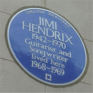 English: Blue plaque to Jimi Hendrix on his ho...
