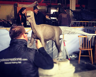 Thecodontosaurus - Bob Nicholls sculpting a model in Bristol Museum