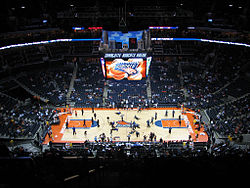 In the NBA basketball courts, such as the Charlotte Bobcats Arena, the key is rectangular, with a restricted area arc nearest to the basket.