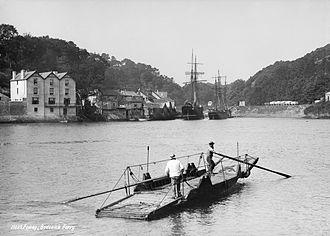 Fowey - Bodinnick ferry, Fowey, Cornwall (1889).