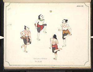 Chinlone - Watercolor painting of a chinlone game from the 19th century.