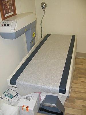 Bone density - A scanner used to measure bone density with dual energy X-ray absorptiometry.