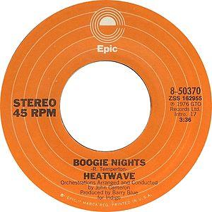 Boogie Nights (song) - Image: Boogie Nights by Heatwave US vinyl single