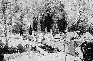 Ottawa River timber trade - Booth lumber camp, Aylen Lake, Ontario, ca 1895