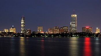 English: Boston skyline at night, as seen from...