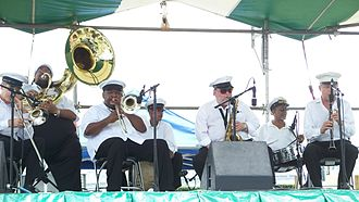 Brass band - The Spirit of New Orleans Brass Band performs at the French Quarter Festival, New Orleans, Louisiana, 11 April 2008.